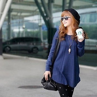 2014 New Arrival  Women Round Neck Long Sleeve Knitted Pullover Jumper Loose Sweater Knitwear Red Blue Colors (Free Size) = 1945788036