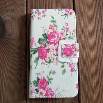 Rose Flower Leather Flip Wallet Case