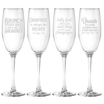 Pop the Bubbly Champagne Glasses (Set of Four)