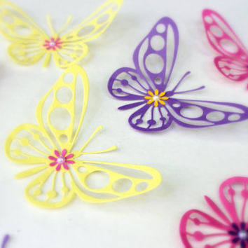 Purple, Yellow, Pink, Butterflies, 3d wall art, Home decor, Art, Kids room, Baby Shower, Wedding, butterfly wall, Wall Decor, Wall Art
