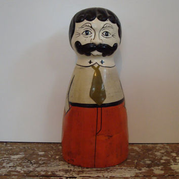 Figural Man with Mustache Bank made in Japan by shoppnspree