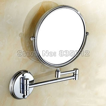 Folding Wall Mounted Makeup Shave Vanity Mirror Round Wall Mirror With Frame Arm Base Chrome Bathroom Mirror Wba626