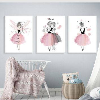 Girls Baby Girl Room Decor Pink Fairys Picture Quadro Cuadros Decoration Nordic Poster Nursery Wall Art Canvas Painting Unframed