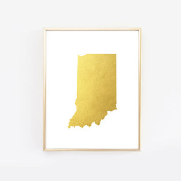 Indiana State Gold Foil Art Print