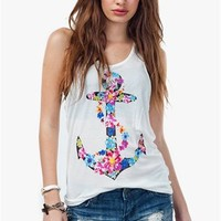A'GACI Sweet Floral Wrapped Anchor Tank - TOPS