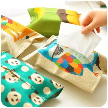 Cartoon Animal Pattern Tissue Box Plush Home Car Napkin Paper Container Cute Paper Towel Napkin Case Pouch For Home Decoration