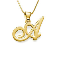Cursive Initial Pendant Necklace