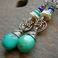 Blue & White Gemstone Earrings .Sterling Silver Wirewrap .Lapis, Turquoise, Ostrich Eggshell