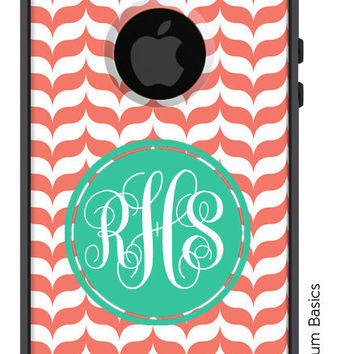 OTTERBOX Commuter iPhone 5 4/4S Case Salmon Marble Chevron Scalloped Letter Initials Name Personalized Monogram