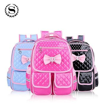 Lovely Girls School Backpack Heart Printing Butterfly Knot Backpacks for Teenage Girl Travel Rucksack Children School Bags ZZ562