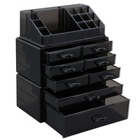 SONGMICS Makeup Organizer Cosmetic Storage Display Boxes Jewelry Chest 3 Pieces Set UJMU08B
