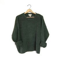 Slouchy Grunge Sweater Army Green Thermal Knit Boxy Shirt 90s Boyfriend Distressed Loose Knit Cotton Pullover Womens Large