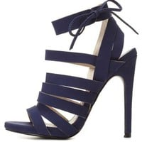 Navy Strappy Caged Heels by Charlotte Russe
