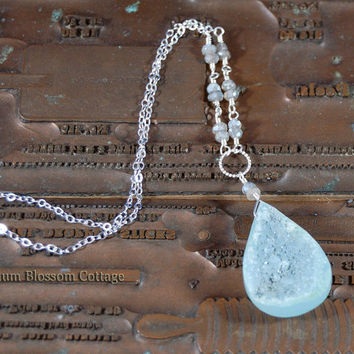 Peruvian Aqua Chalcedony Druzy Layering Necklace with Faceted Labradorite Rondelles Sterling Silver