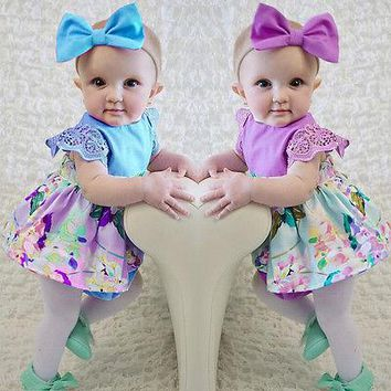 Newborn Baby Girls Dress Diaper Cover +Headband baby Dresses Printing Littel Baby Clothing 0-24M