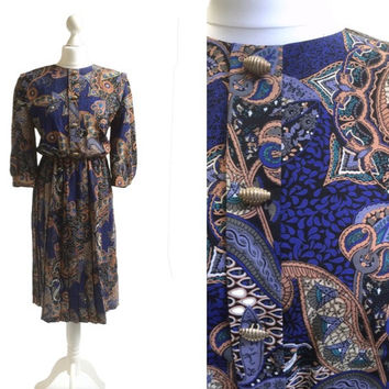 1980's Paisley Print Dress - NOS Unused - 80's Vintage Dress - Cobalt Blue And Terracotta - Made In USA