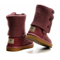 """""""UGG"""" Women Fashion Weave Wool Snow Boots Pink"""