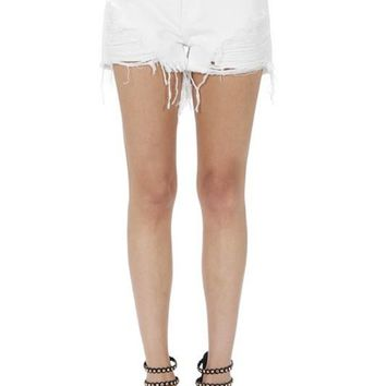 Ryker White Distressed Jean Shorts