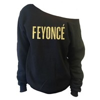 FEYONCE' Off-The-Shoulder Wide Neck Slouchy Sweatshirt   Gold Print