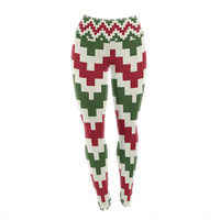 "KESS Original ""Christmas Gram"" Chevron Yoga Leggings"