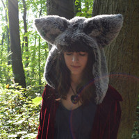 Grey Wolf Hood - Animal Spirit Costume - Faux Fur