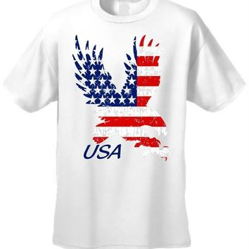 USA Flag T Shirt Men's Bald Eagle Pride Short