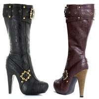 "Women's 4"" Knee High Steampunk Boots With Buckles And Studs"