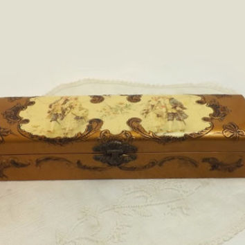 Victorian Celluloid Glove Box Gold Courting Couple Scenes, Antique Vanity Boudoir Decor, Shabby Cottage Storage