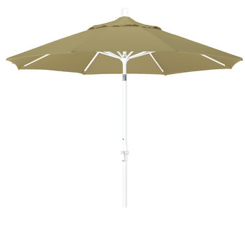 9 Foot Sunbrella 4A Fabric Aluminum Crank Lift Collar Tilt Patio Umbrella with White Pole