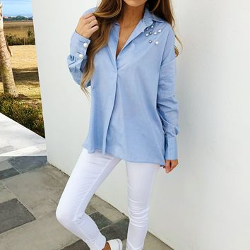 Office Cutie Blouse: Powder Blue