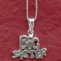 Sterling Silver BIG SISTER Necklace Solid 925 Charm Pendant and Chain