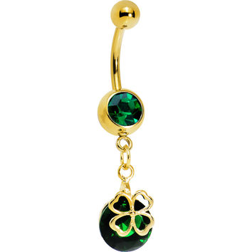 Gold Plated Emerald Green Gem Four Leaf Clover Belly Ring