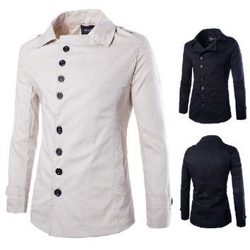 New Button Design Men's Fashion Slim Fit Trench Jacket