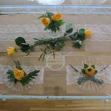 BURLAP LACE PLACEMATS  .  Shabby Chic Place Mats . Sold as a Set of Four . Custom Sizes Available . Country Chic Table Linens