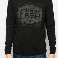 ASOS Sweatshirt With Johnny Cash Print And Oil Wash - Washed black