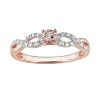 Rose Rhodium-Plated Sterling Silver Morganite & Diamond Accent Infinity Ring (Pink)