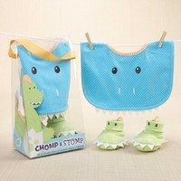 Chomp & Stomp - Dinosaur Bib and Booties Gift Set by Baby Aspen