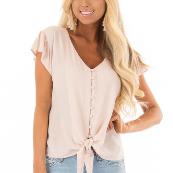 Pink Lemonade Button Up Top with Tie Detail