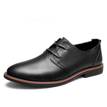Leather Mens Dress Shoes Lace Up Casual Oxfords