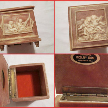 "Vintage Incolay Reuge Music Box Jewelry Box Stone Angels Cherubs Genuine 1979 Incolay Plays ""Till The End Of Time"" Marbled Rust Colors"