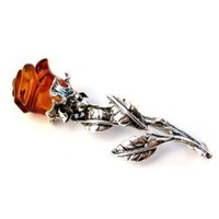 Sterling Silver and Amber Elegant Rose Brooch