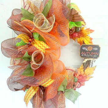 Gorgeous Fall Wreath/Fall Wreath/Autumn Wreath/Autumn Blessings Wreath/Full Fall Color Wreath/Fall Deco Mesh Wreath/Autumn Deco Mesh Wreath