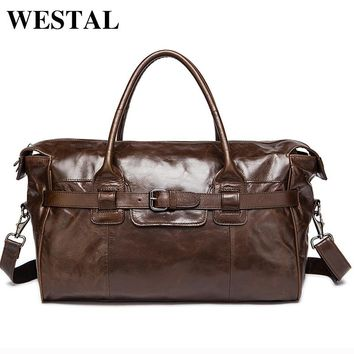WESTAL Genuine Leather Duffle Bag Men's Multi-purse Travel Bag Luggage Duffle Bags Leather Handbags Suitcase Men Travel Bags
