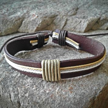 Brown and White Adjustable Unisex Leather Weave Wrap Bracelets