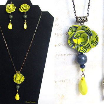 Yellow Black Flower Jewelry set long necklace and earring Shabby chic Polymer clay