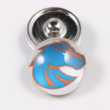 Boise State Broncos NCAA 18mm Glass Snap Button Jewelry Cabochons Snap Charms Fit Snap Button Bracelet Jewelry
