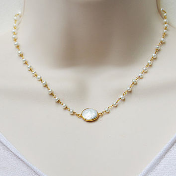 White Freshwater pearl coin Vermeil Gold bezel set Wire wrapped necklace - bridesmaid wedding necklace - Large Gemstone