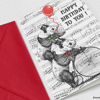 Panda bears birthday card-funny animal card-birthday card-funny card-card-vintage sheet music card-thank you card-custom card-card-NPGC104