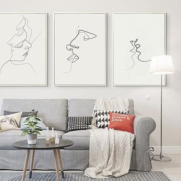 Picasso Simple Line Curve Black White Abstract Painting Kiss A4 Art Print Poster Canvas Painting Combined Painting Home Decor
