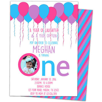 Best Pink Photo Invitations Products On Wanelo - 1st birthday invitations girl purple